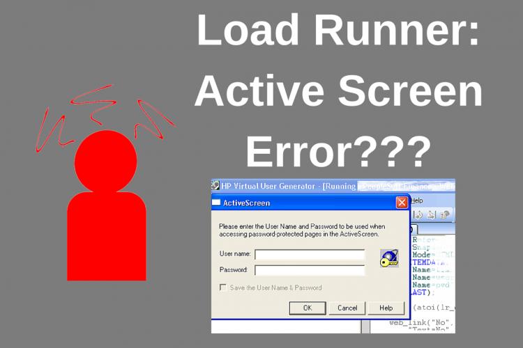Load Runner - VuGen - Active Screen Error